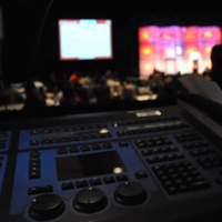 lighting console at corporate event